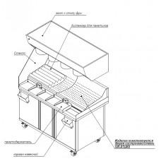 Станция фасовочная для картофеля-фри МФ 1325*750*795 (1740) колеса, короб с подсветкой. Мармит