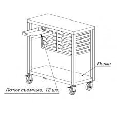 Стол упаковочный СП 900*400*900 колеса; сьемные лотки