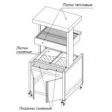 Станция фасовочная для картофеля-фри МФ 860*860*850(1830) 2 тепловые полки. Мармит